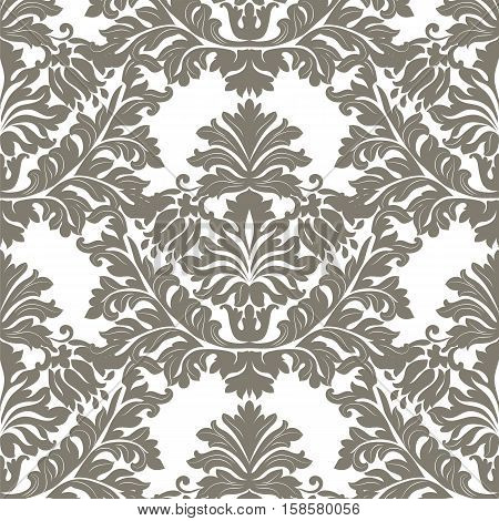 Vintage Imperial Baroque ornament pattern. Vector damask decor. Royal Victorian texture for wallpapers, textile, fabric. Granite gray color