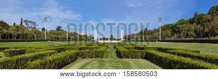The Eduardo VII Park scenic overlook or vista point in Lisbon, Portugal. The largest park in the city center and a landmark.