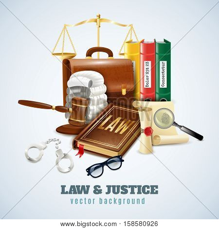 Law and justice legal system objects and symbols composition background poster with balance and judge wig vector illustration