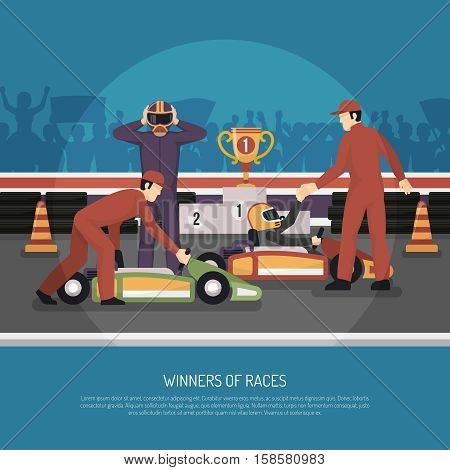 Karting motor race winner and another driver after tournament flat vector illustration