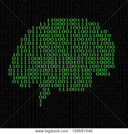 Abstract brain with binary computer code. Vector