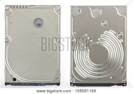Two 2.5 inch laptop HDD. View from above. Isolated on white background.