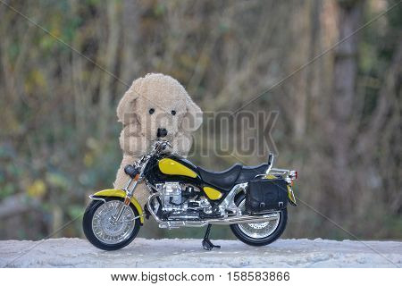Dog soft toy stands behind a motorcycle outside