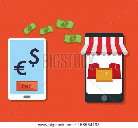 e-commerce smartphone tranfer money payment vector illustration eps 10