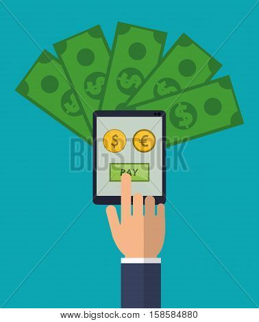 hand holds smartphone pay euro dollar money vector illustration eps 10