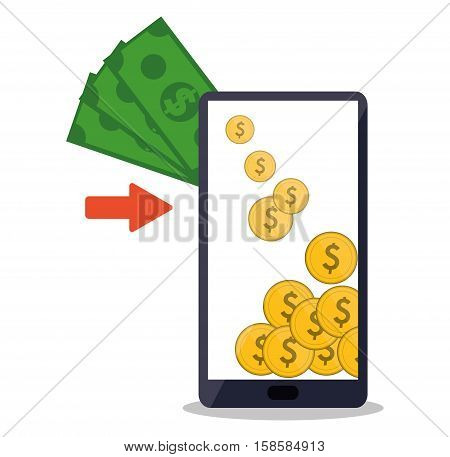 mobile payment money bitcoins app vector illustration eps 10