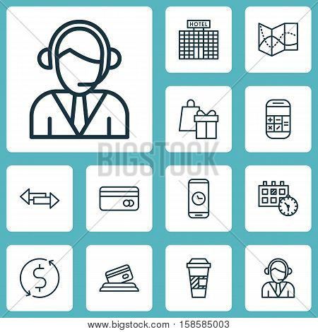 Set Of Traveling Icons On Credit Card, Takeaway Coffee And Hotel Construction Topics. Editable Vector Illustration. Includes Credit, Card, Debit And More Vector Icons.