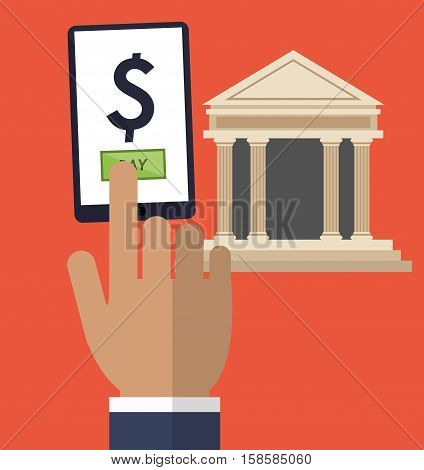 hand touch smartphone pay online bank vector illustration eps 10