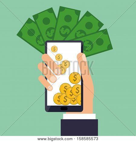 hand holds smartphone coins bills dollar vector illustration eps 10