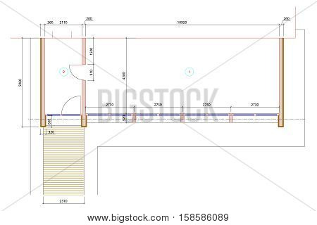 Standard empty template floor color plan , office plan, graphic design elements. Small Office room - top view plan. Vector isolated.