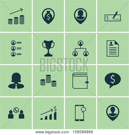 Set Of Human Resources Icons On Messaging, Business Deal And Employee Location Topics. Editable Vector Illustration. Includes Coins, User, Check And More Vector Icons.