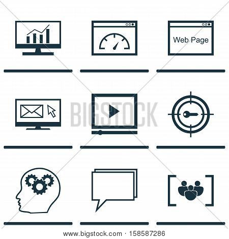 Set Of Advertising Icons On Questionnaire, Conference And Website Topics. Editable Vector Illustration. Includes Web, Target, Online And More Vector Icons.