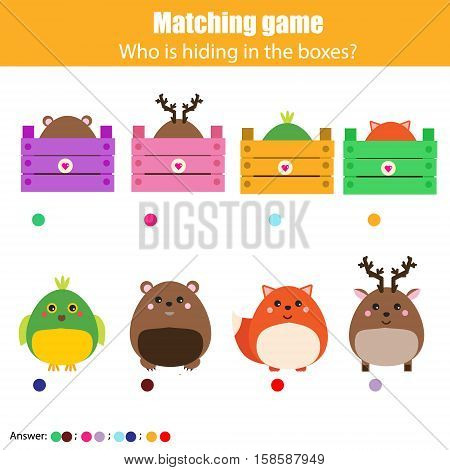 Match the animals with box children education game. Learning animals theme kids activity
