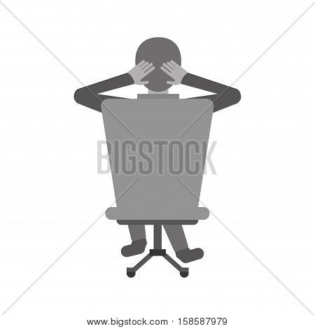 man sitting on back chair relaxing monochromatic vector illustration eps 10