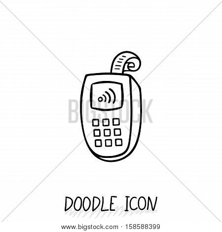 Doodle icon with credit card payment, vector pictogram.