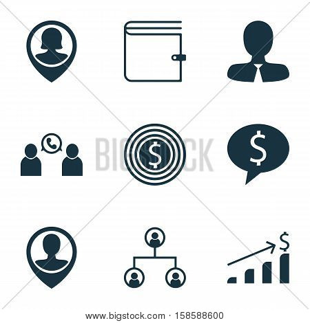 Set Of Management Icons On Business Deal, Wallet And Successful Investment Topics. Editable Vector Illustration. Includes Goal, Growth, Employee And More Vector Icons.