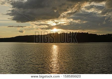 Golden Lake at Sunset on Kawnipi Lake in the Quetico Provincial Park in Ontario