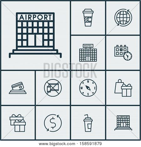 Set Of Airport Icons On Credit Card, World And Drink Cup Topics. Editable Vector Illustration. Includes Around, Compass, Office And More Vector Icons.