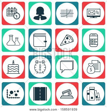 Set Of 16 Universal Editable Icons. Can Be Used For Web, Mobile And App Design. Includes Icons Such As Chemical, Conference, Celebration Cake And More.