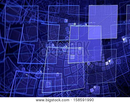 Abstract tech fractal background - computer-generated image. Digital art: curled grid consisting of squares of different sizes. Technology, industrial or business background.
