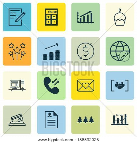 Set Of 16 Universal Editable Icons. Can Be Used For Web, Mobile And App Design. Includes Icons Such As Coins Growth, Cellular Data, Holiday Ornament And More.