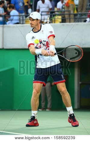 RIO DE JANEIRO, BRAZIL - AUGUST 14, 2016: Olympic champion Andy Murray of Great Britain in action during men's singles final of the Rio 2016 Olympic Games at the Olympic Tennis Centre