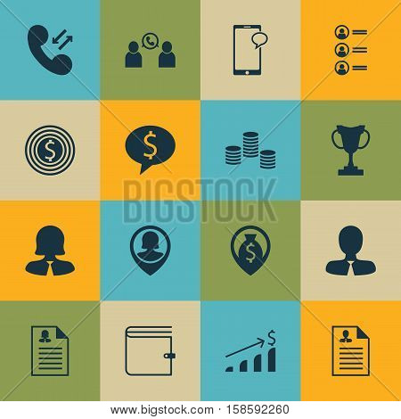Set Of Human Resources Icons On Pin Employee, Money And Cellular Data Topics. Editable Vector Illustration. Includes Trophy, Conference, Chat And More Vector Icons.
