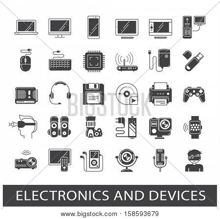 Set of electronic device icons. Line icons related to electronic and devices.