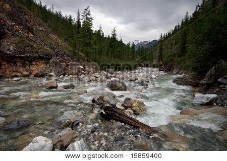 Mountain river Yamangol in East Sayan Mountains