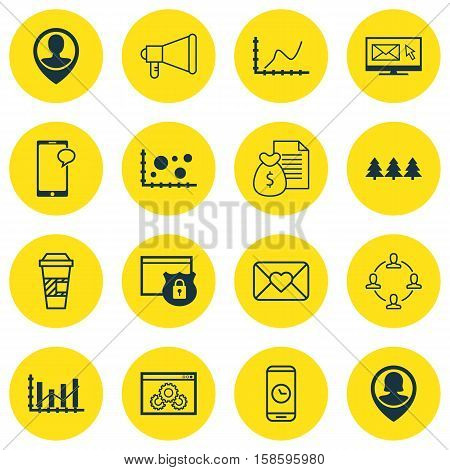 Set Of 16 Universal Editable Icons. Can Be Used For Web, Mobile And App Design. Includes Icons Such As Security, Website Performance, Employee Location And More.