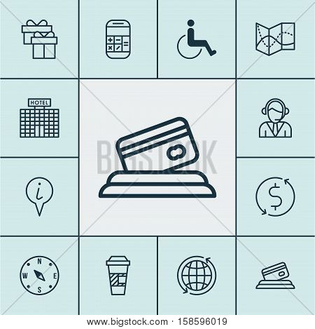Set Of Transportation Icons On Accessibility, Takeaway Coffee And Money Trasnfer Topics. Editable Vector Illustration. Includes Math, Takeaway, Present And More Vector Icons.