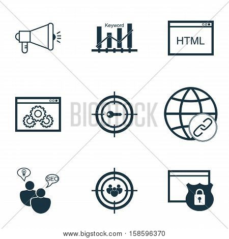 Set Of SEO Icons On Keyword Marketing, SEO Brainstorm And Website Performance Topics. Editable Vector Illustration. Includes Community, Protected, Bulding And More Vector Icons.