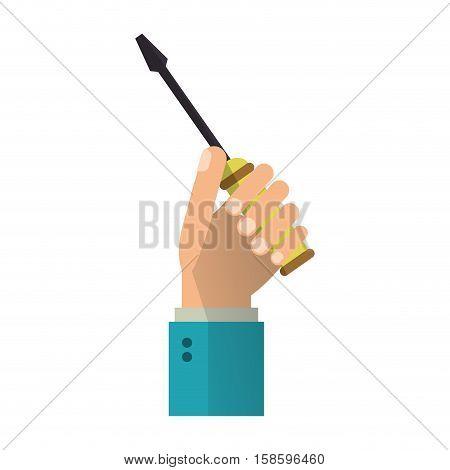 hand holding screwdriver tool repair vector illustration eps 10
