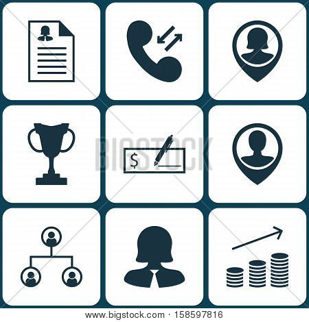 Set Of Hr Icons On Tournament, Tree Structure And Coins Growth Topics. Editable Vector Illustration. Includes Bank, Female, Profile And More Vector Icons.