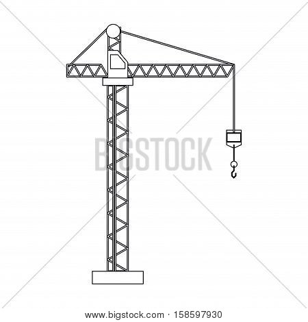crane hook construction machine outline vector illustration eps 10