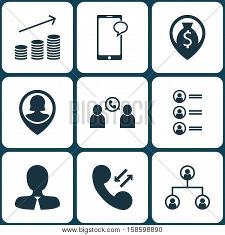 Set Of Management Icons On Messaging, Coins Growth And Cellular Data Topics. Editable Vector Illustration. Includes Structure, Money, Organisation And More Vector Icons.
