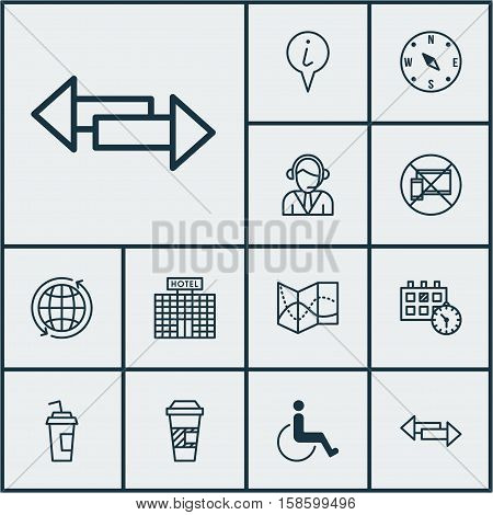 Set Of Traveling Icons On Takeaway Coffee, Drink Cup And Info Pointer Topics. Editable Vector Illustration. Includes No, Appointment, Center And More Vector Icons.