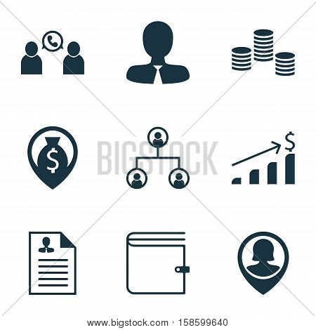 Set Of Human Resources Icons On Manager, Successful Investment And Phone Conference Topics. Editable Vector Illustration. Includes Growth, Organisation, Coins And More Vector Icons.