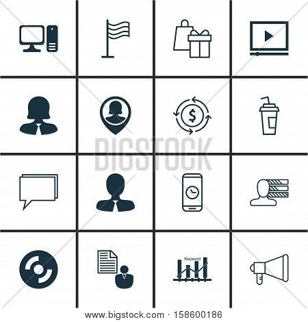 Set Of 16 Universal Editable Icons. Can Be Used For Web, Mobile And App Design. Includes Icons Such As Shopping, Desktop Computer, Conference And More.