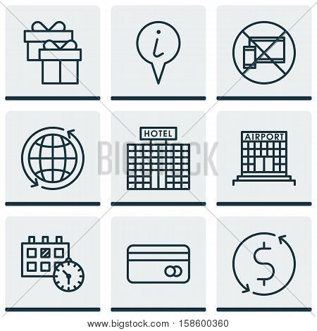 Set Of Airport Icons On Forbidden Mobile, Money Trasnfer And World Topics. Editable Vector Illustration. Includes World, Transfer, Info And More Vector Icons.