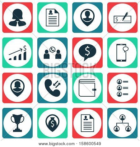 Set Of Management Icons On Bank Payment, Cellular Data And Pin Employee Topics. Editable Vector Illustration. Includes Growth, List, Dollar And More Vector Icons.