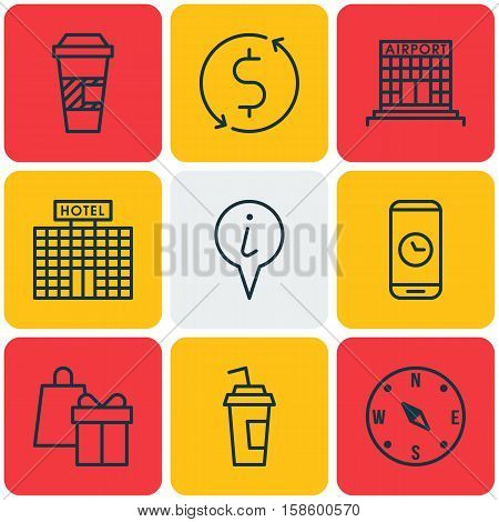 Set Of Traveling Icons On Hotel Construction, Call Duration And Shopping Topics. Editable Vector Illustration. Includes Exchange, Transfer, Building And More Vector Icons.