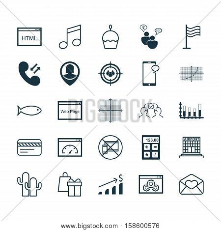Set Of 25 Universal Editable Icons. Can Be Used For Web, Mobile And App Design. Includes Icons Such As Website Performance, Cellular Data, Birthday Cake And More.