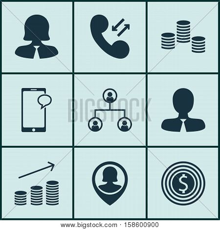 Set Of Human Resources Icons On Manager, Messaging And Pin Employee Topics. Editable Vector Illustration. Includes Chat, Female, Structure And More Vector Icons.