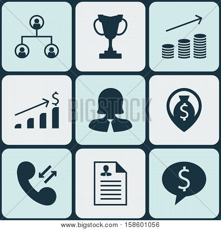 Set Of Management Icons On Successful Investment, Cellular Data And Business Woman Topics. Editable Vector Illustration. Includes Opinion, Cup, Tree And More Vector Icons.
