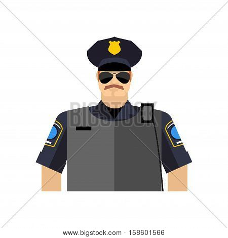 Police Officer Portrait. Policeman  In Uniform. Radio And Body Armor