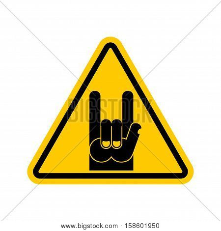 Attention Rock Music. Warning Rock Hand Symbol. Danger Road Sign Yellow Triangle