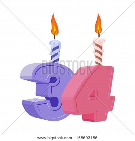 34 Years Birthday. Number With Festive Candle For Holiday Cake. Thirty Four Anniversary