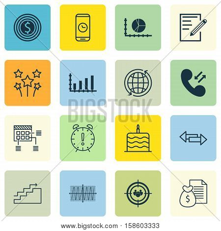 Set Of 16 Universal Editable Icons. Can Be Used For Web, Mobile And App Design. Includes Icons Such As Cosinus Diagram, Business Goal, Celebration Cake And More.