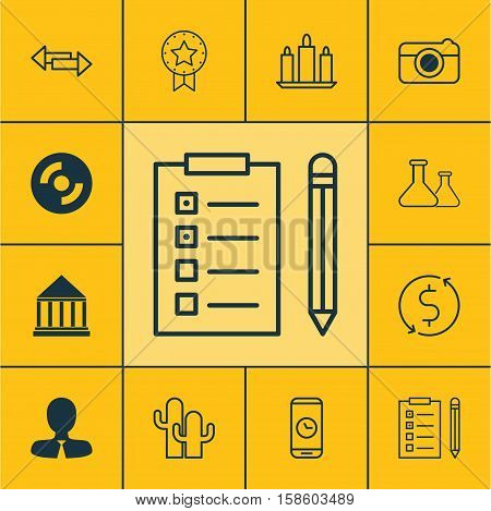 Set Of 12 Universal Editable Icons. Can Be Used For Web, Mobile And App Design. Includes Icons Such As Education Center, Manager, Reminder And More.